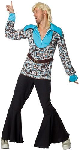 Hippie Disco Hemd Retro Grijs-Turquoise