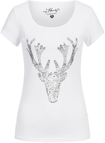 Trachten T-shirt Hert + Zilveren Pailletten Wit