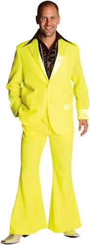 Seventies Kostuum Heer Neon Geel