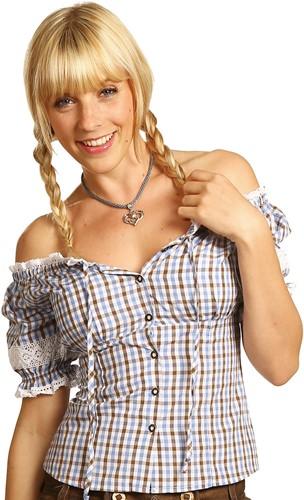 Tiroler Dames Blouse Carmen Blauw-Bruin-Wit