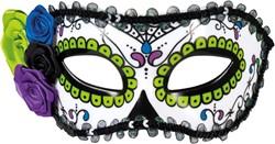 Oogmasker Day of the Dead La Seria Groen/Zwart