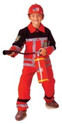 Kinder Brandweerman kostuum Rood/Zwart