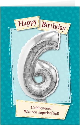 Leeftijd Ballonnen Giftcard 6 jaar 30cm