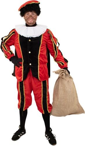 Kostuum Zwarte Piet+Cape Zwart/Rood