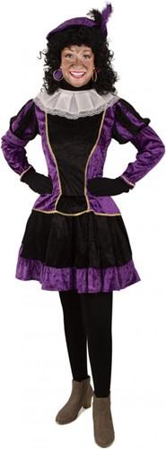Dames Pieten Jurkje Paars-Zwart met Petticoat