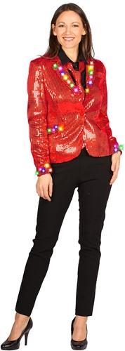 Dames Pailletten Jasje Rood met LED-verlichting