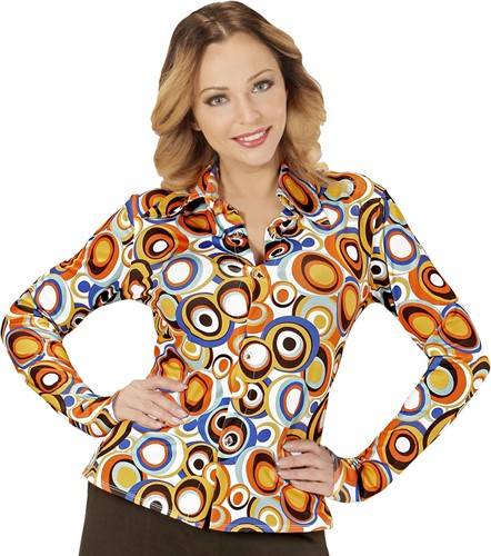 Dames Disco Blouse Seventies Cirkels