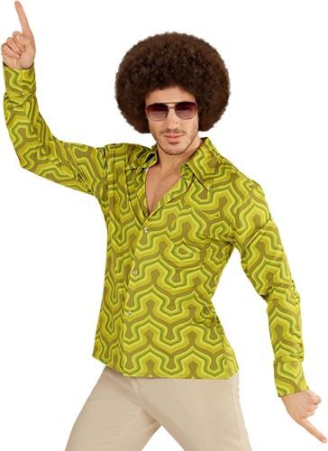 Heren Disco Blouse Seventies Retro Groen