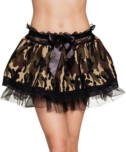Leger Minirokje Camouflage met Petticoat