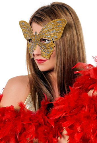 Oogmasker Vlinder Glitter Goud