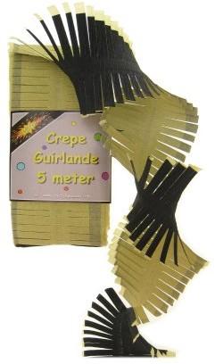 Crepe Guirlande Zwart/Geel 5mtr