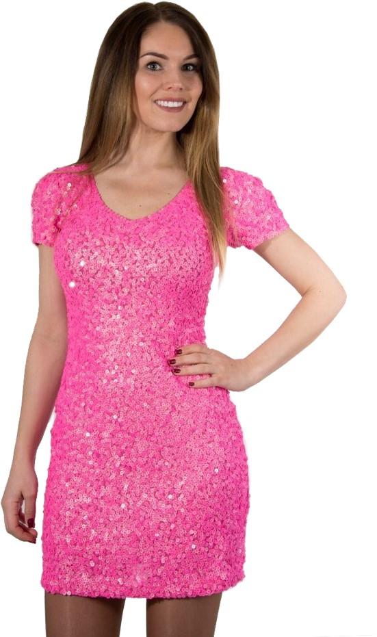 jurkje pailletten glitter diva roze