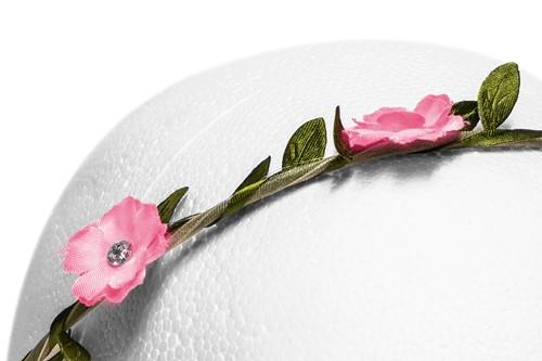 Bloemenhaarband Roze met Strass-2