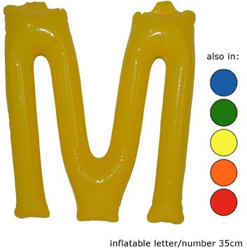 Opblaas Letter M 35cm Geel