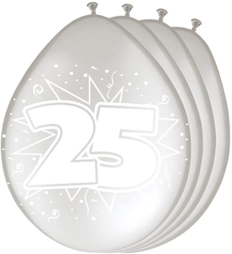 Ballonnen 25 Zilver 8st