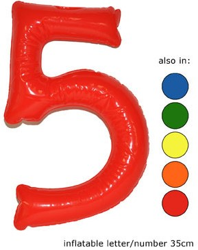 Opblaas Cijfer 5 35cm Oranje