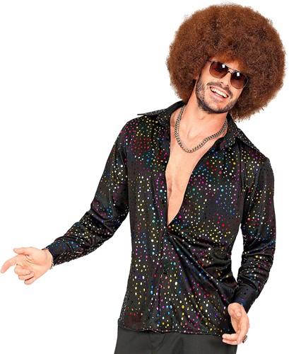 Heren Disco Blouse Seventies Multi Dots