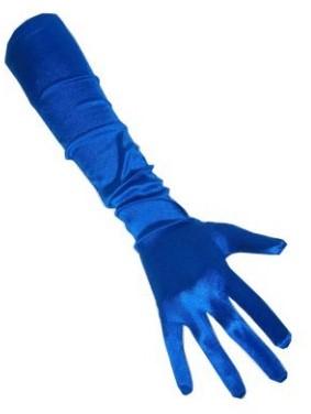 Handschoenen Satijn Blauw 48cm