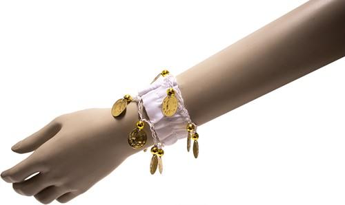 Armband Zigeuner Stof+Muntjes Wit
