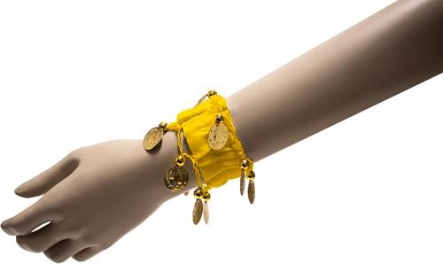 Armband Zigeuner Stof+Muntjes Geel