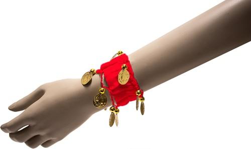 Armband Zigeuner Stof+Muntjes Rood