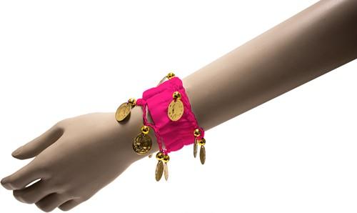 Armband Zigeuner Stof+Muntjes Pink