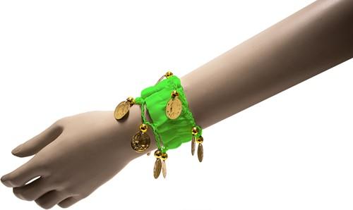 Armband Zigeuner Stof+Muntjes Groen