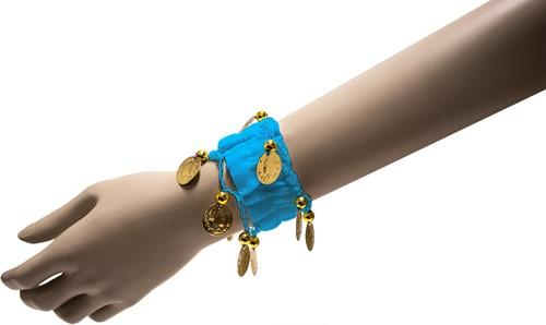 Armband Zigeuner Stof+Muntjes Turquoise