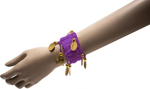 Armband Zigeuner Stof+Muntjes Paars