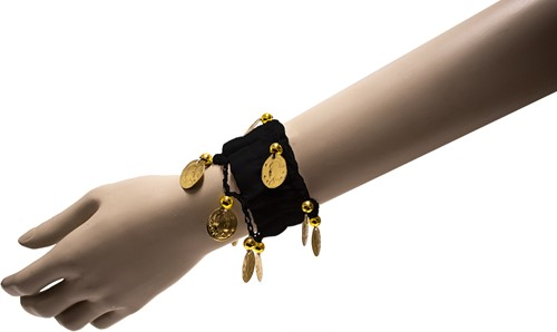 Armband Zigeuner Stof+Muntjes Zwart