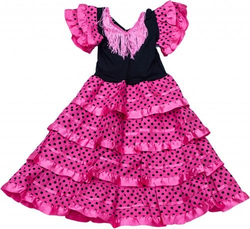Spaanse Jurk Roze-Zwart voor meisjes