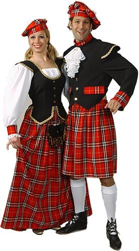 Kostuum Schotse Dame Luxe Rood