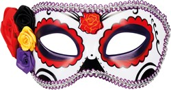 Oogmasker Day of the Dead La Seria Paars/Rood