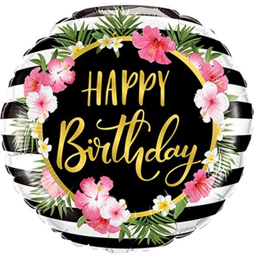 Folieballon Happy Birthday Hibiscus Stripes (46cm)
