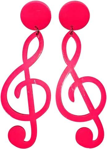 Oorbellen Eighties Muzieknoten Pink