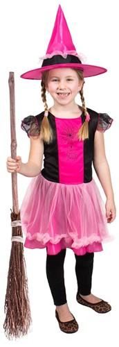 Meisjes Heksenjurk met Hoed Pink/Zwart