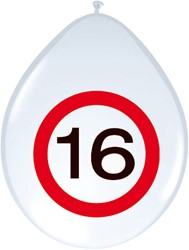 Ballonnen 16 jaar Verkeersbord 8st