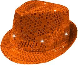 Hoed Disco Pailletten + Licht Oranje