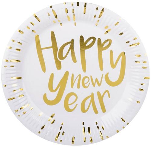 Bordjes Happy New Year 23cm - 6st.