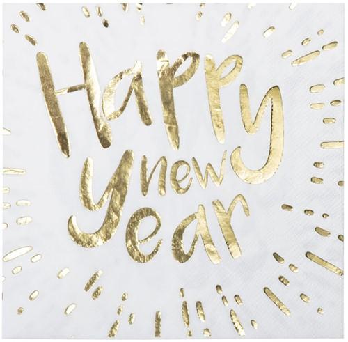 Servetten Happy New Year 33x33cm - 12st