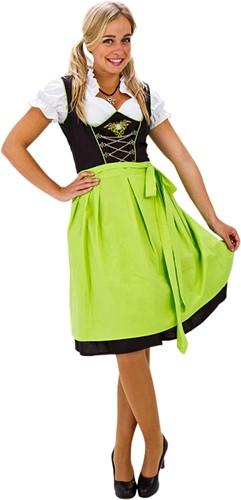 Dirndl Groen-Zwart 60cm Luxe 3dlg. (100% Katoen)