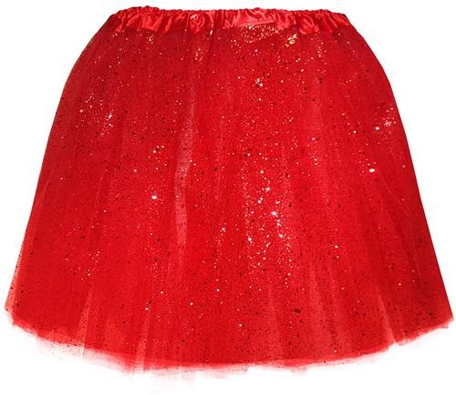 Tule Rokje Rood met Glitter