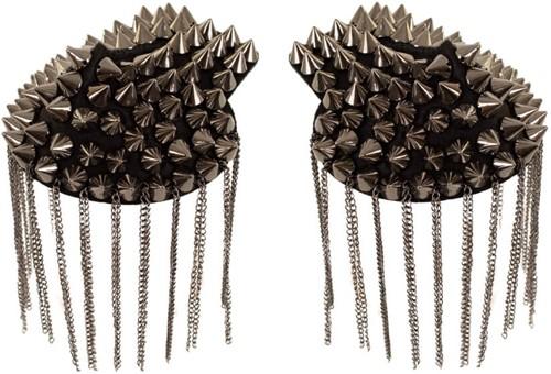 Epaulettenkapje met Spikes en Kettingen Metallic Grijs (2st)