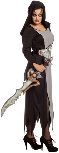 Halloween Jurk Zwart-Grijs met Vleermuisriem -2