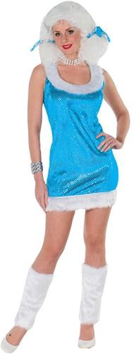 Pailletten Jurkje Glitter+Beenwarmers Turquoise