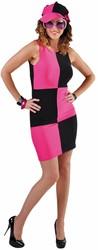Damesjurkje Sixties Zwart-Pink
