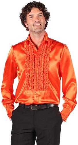 Luxe Ruches Blouse Satijn Oranje