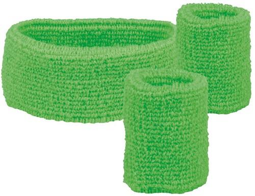 Set Zweetbandjes + Hoofdband Neon Groen