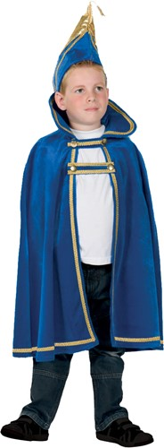 Kinder Prinsencape fluweel Blauw