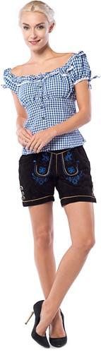 Dames Lederhose Kort Zwart (runderleer)
